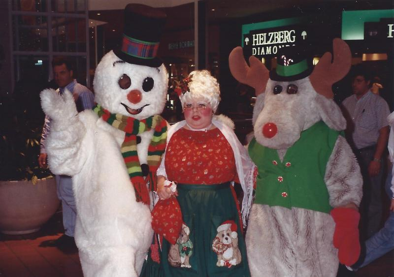 Mrs. Claus with Frosty and Rudolph in NM